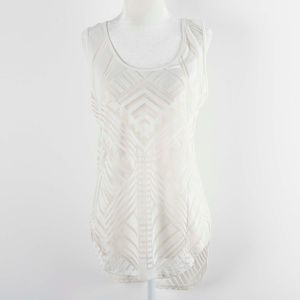 Mossimo White Sheer Geometric Tank